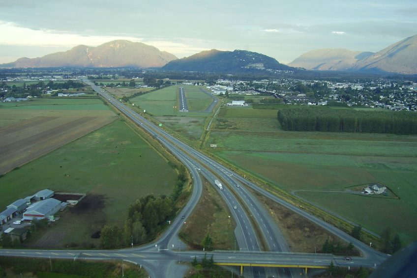 Looking west approaching Chilliwack Airport-Chilliwack, BC