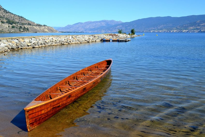 Wooden Canoe adjacent to the Okanagan River outflow | Penticton, BC