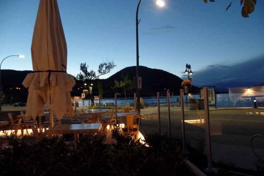 Outdoor dining patio on across from the beach | Penticton, BC